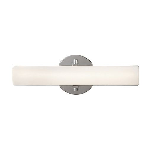 1-Light Polished Chrome Integrated LED Vanity Light with Frosted White Shade