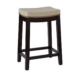 Beige Linen Backless Counter Stool with Nailheads