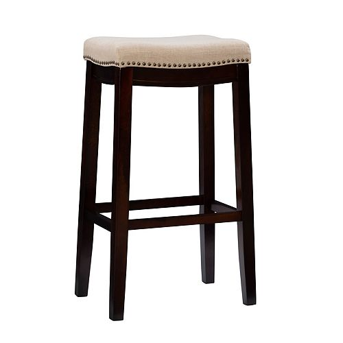 Natural Linen Backless Bar Stool with Nailheads