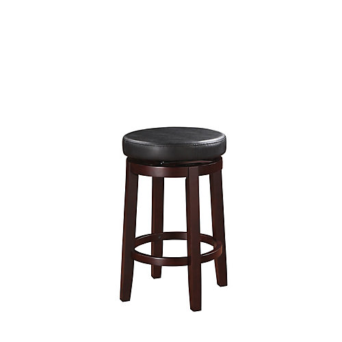 Round Swivel Backless Counter Stool - Black