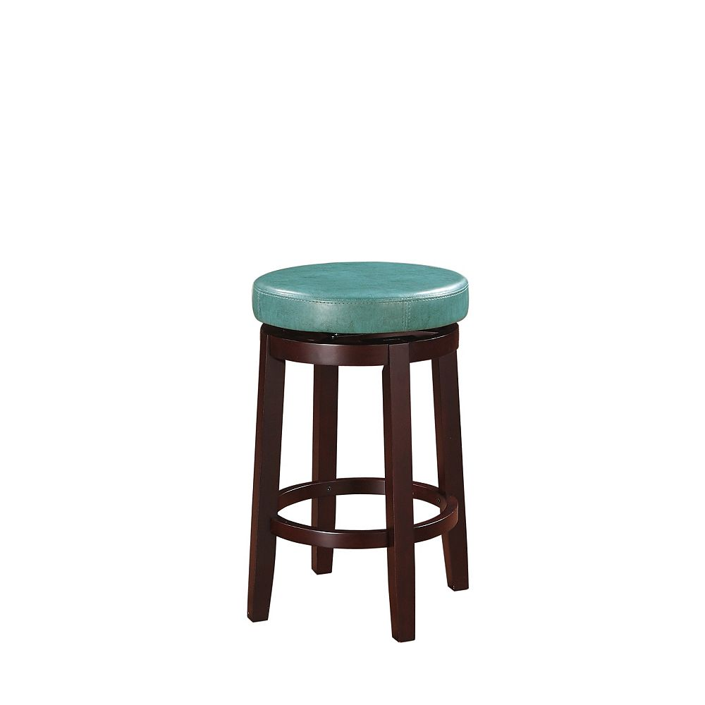 Linon Home Decor Round Swivel Backless Counter Stool - Teal