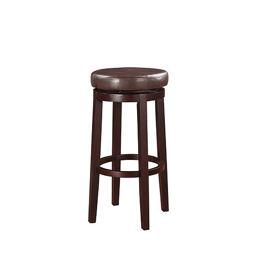 Round Swivel Backless Bar Stool - Brown