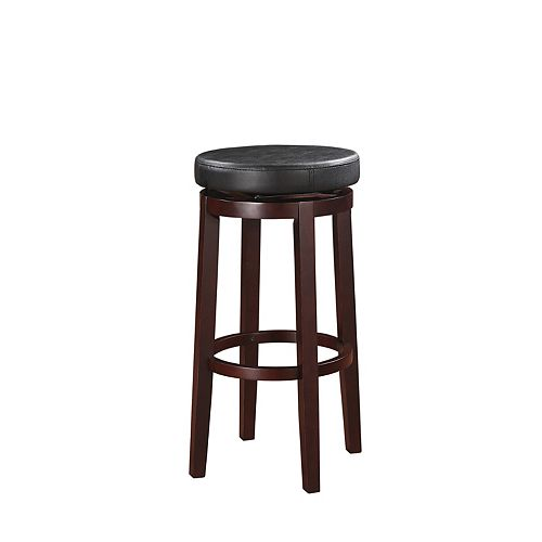 Round Swivel Backless Bar Stool - Black