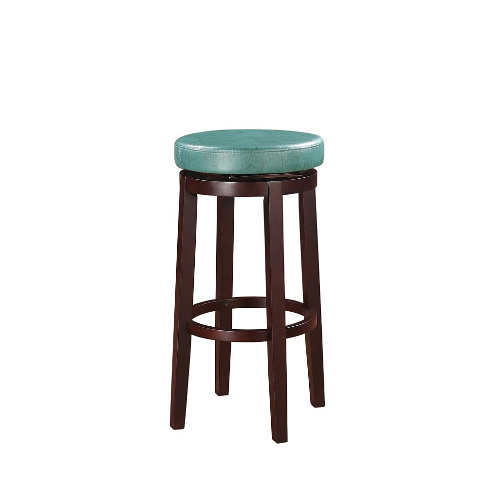Linon Home Decor Round Swivel Backless Bar Stool - Teal
