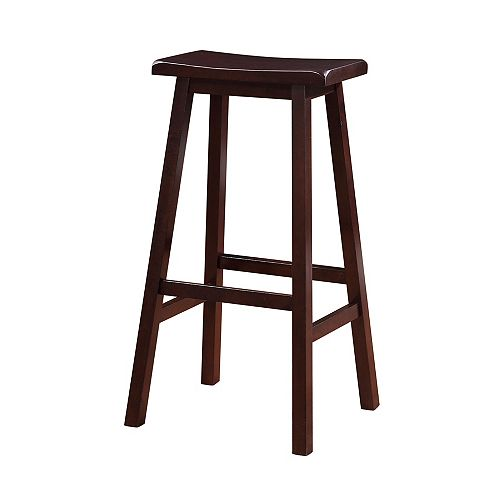 Classic Saddle Stool - Bar Height - Dark Brown Stain