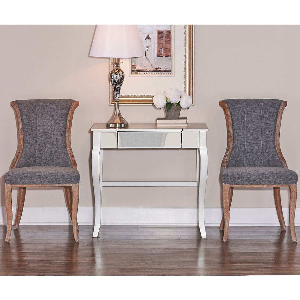 Linon Home Decor French Inspired Charcoal Flared Back Chair Set 2 Pack The Home Depot Canada
