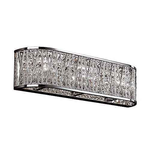 3-Light Chrome and Crystal Vanity Light Fixture
