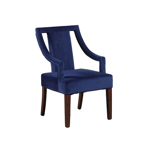 Modern Occasional Velvet Accent Chair in Blue with Solid Pattern