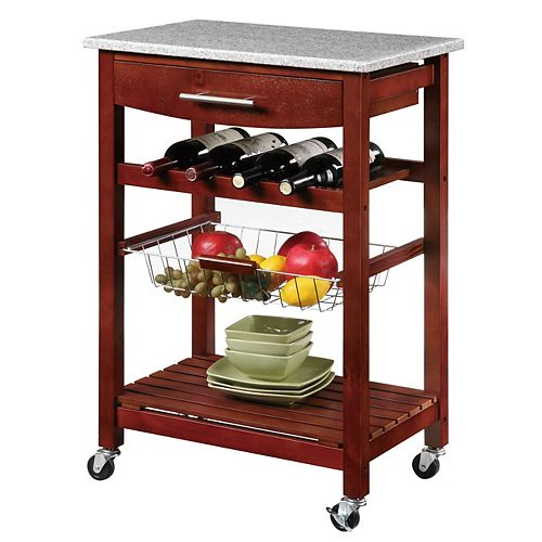 23 Inch  Granite Top Kitchen Cart With Single Drawer, Removable Basket & Wine Storage