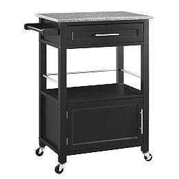 Chariot de cuisine de 27 po avec dessus en granit, 1 tiroir, 1 porte et porte-serviettes, noir
