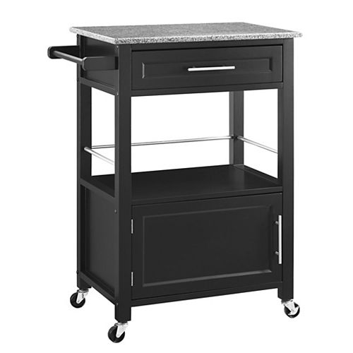 Linon Home Decor 27 Inch  Black Kitchen Cart With Granite Top, Single Drawer and Door & Towel Rack