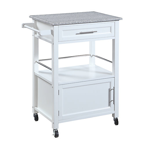 27 Inch  White Kitchen Cart With Granite Top, Single Drawer and Door & Towel Rack