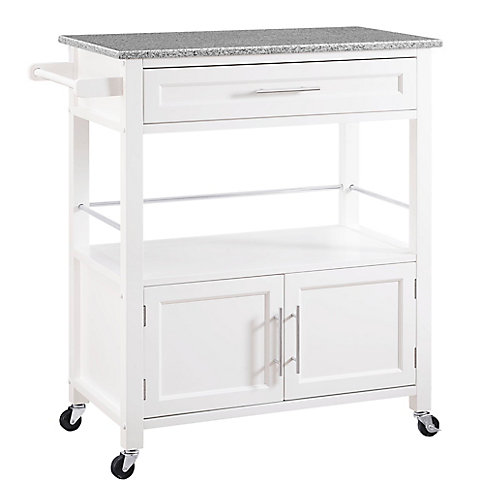 33 Inch  White Kitchen Cart with Granite Top, Single Drawer, Double Doors & Towel Rack
