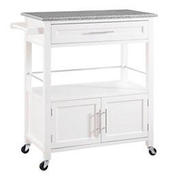 Chariot de cuisine de 33 po avec dessus en granit, 1 tiroir, 2 portes et porte-serviettes, blanc