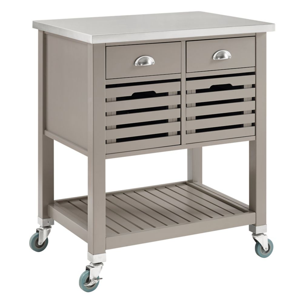 30 Inch  Grey Kitchen Cart With Stainless Steel Top, 2 Drawer and 2 Removable Crates