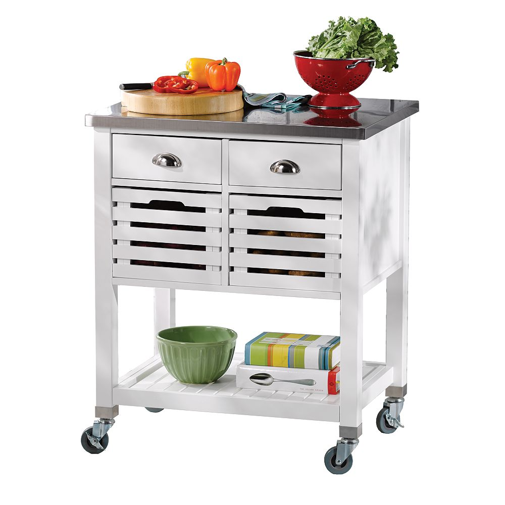 Linon Home Decor 30 Inch  White Kitchen Cart With Stainless Steel Top, 2 Drawer and 2 Removable Crates