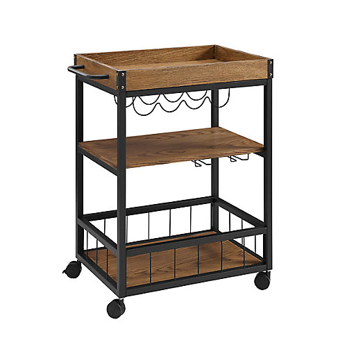 Chariot pour cuisine ou bar rustique avec rangement pour verres et bouteilles de vin