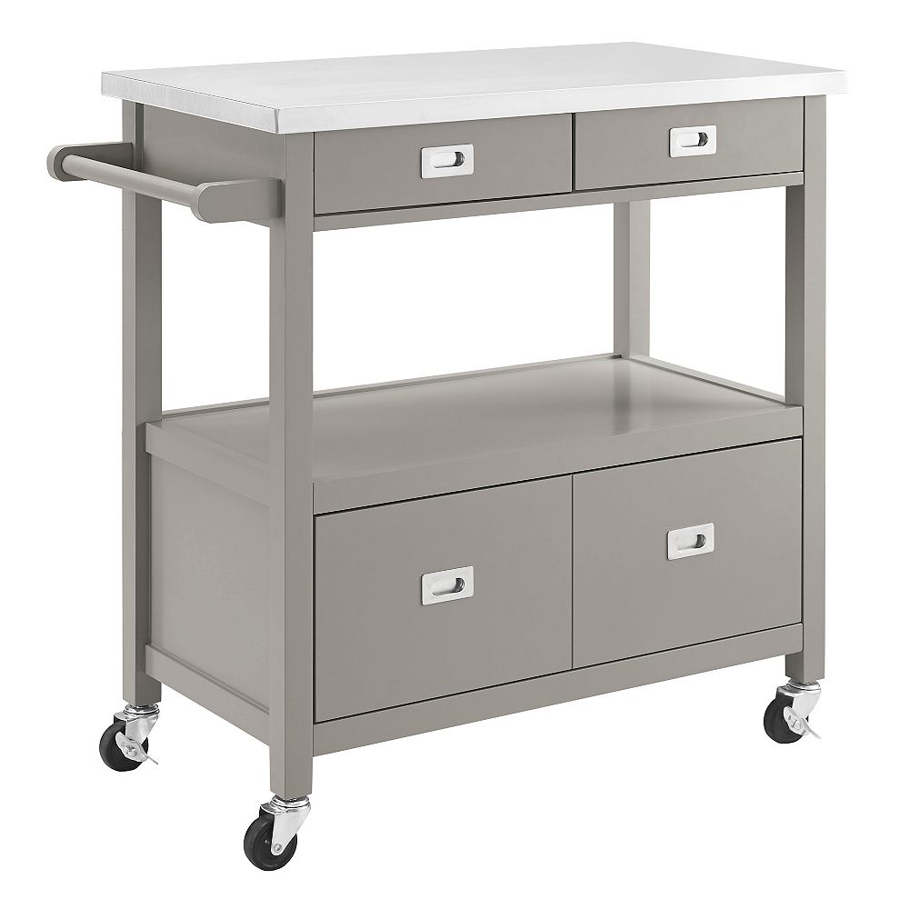 Linon Home Decor 34 Inch  Grey Kitchen Cart with Stainless Steel  Top & Modern Silver Details