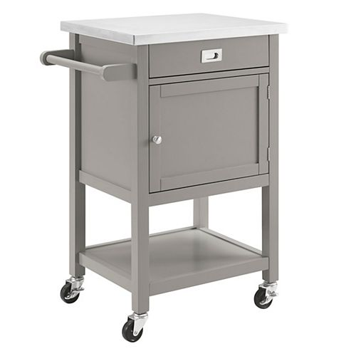 22 Inch  Grey Kitchen Cart with Stainless Steel Top