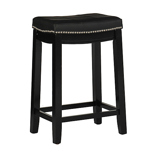 Stitched Detail Backless Counter Stool with Nailheads - Black