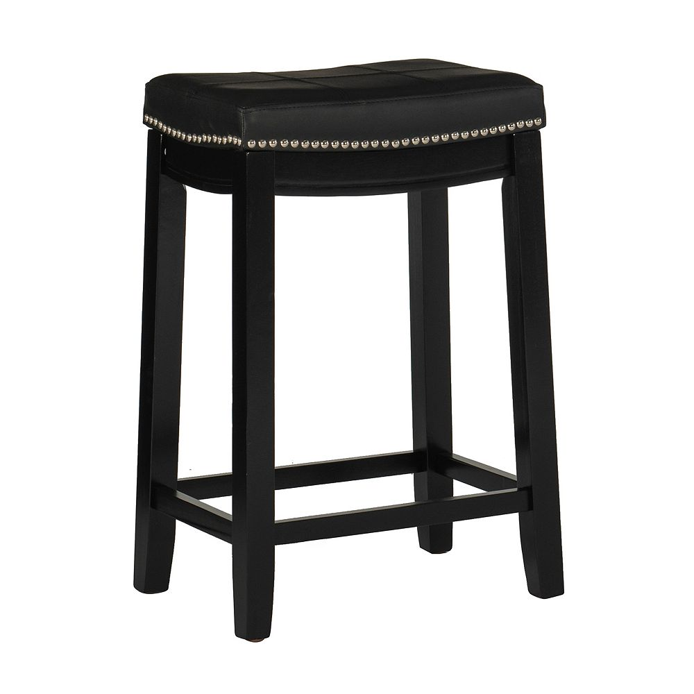 Linon Home Decor Stitched Detail Backless Counter Stool with Nailheads - Black