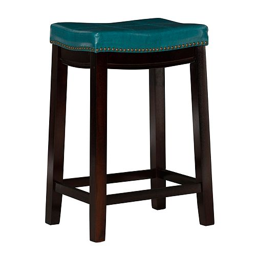 Stitched Detail Backless Counter Stool with Nailheads - Blue