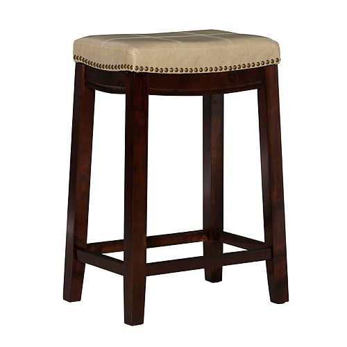 Stitched Detail Backless Counter Stool with Nailheads - Jute/Cream