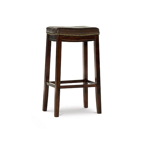 Linon Home Decor Stitched Detail Backless Bar Stool with Nailheads - Brown