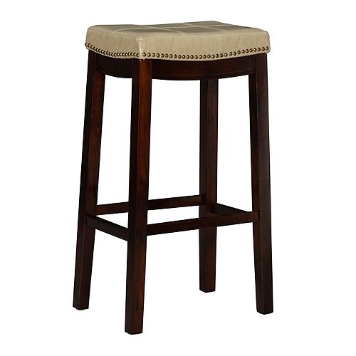 Linon Home Decor Stitched Detail Backless Bar Stool with Nailheads - Cream