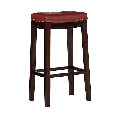 Stitched Detail Backless Bar Stool with Nailheads - Red