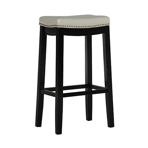 Stitched Detail Backless Bar Stool with Nailheads - White