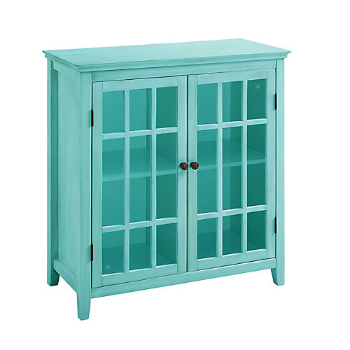 36 Inch  Teal Double Door Cabinet with Interior Shelf & Glass Front