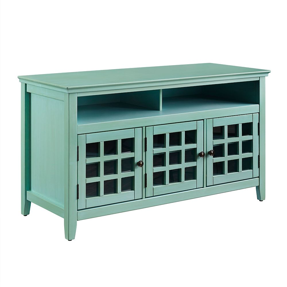 Linon Home Decor 48 Inch  Teal Media Cabinet with Ample Storage Space