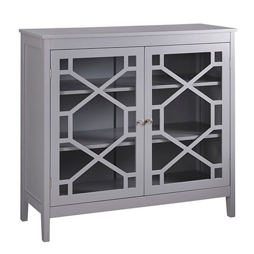 38 Inch  Grey Double Door Cabinet with Glass Front & Geo Design