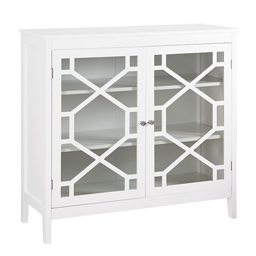 38-inch White Double Door Cabinet with Glass Front & Geo Design