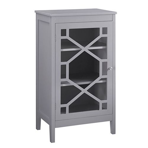 Linon Home Decor 20-inch Grey Single Door Cabinet with Glass Front & Geo Design