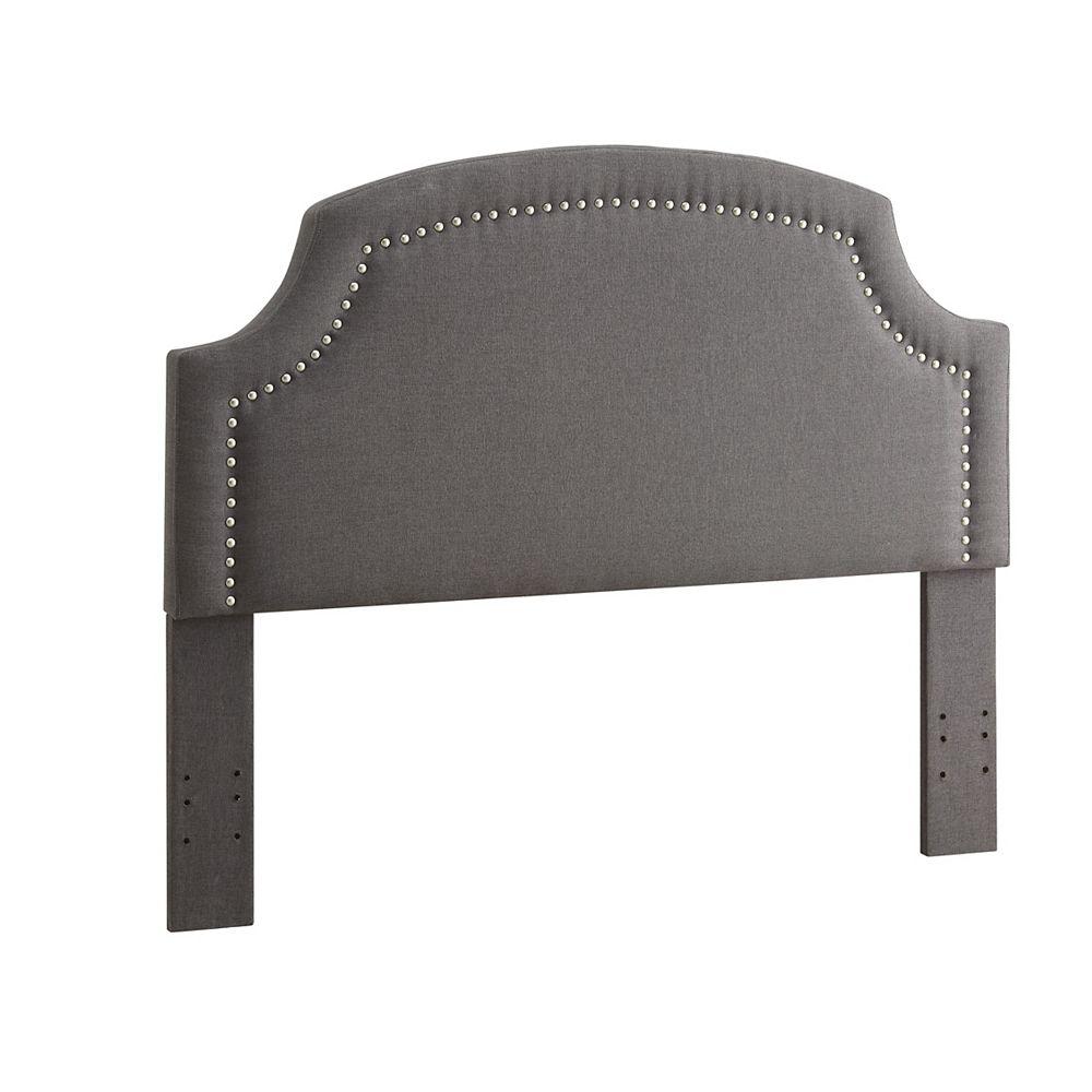 Linon Home Decor Tête de lit double/grand lit Regency en lin charbon avec têtes de clou argent et côtés arrondis