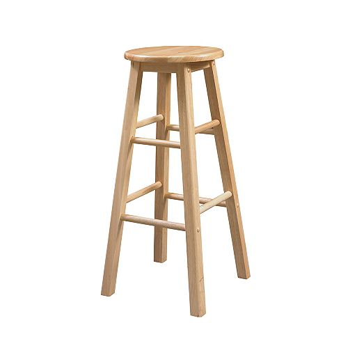 Classic Carpenters Round Seat Bar Stool - Natural