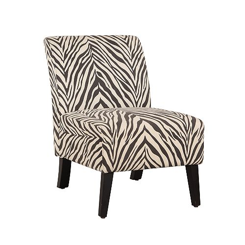 Zebra Contemporary Slipper Linen Armless Accent Chair in Natural with Animal Print Pattern