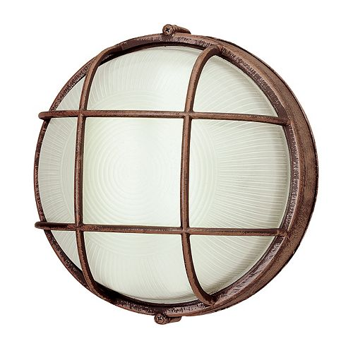 1-Light Outdoor Rust Wall or Ceiling Mounted Fixture