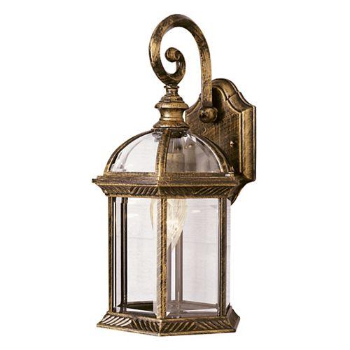 1-Light Outdoor Black Gold Coach Lantern