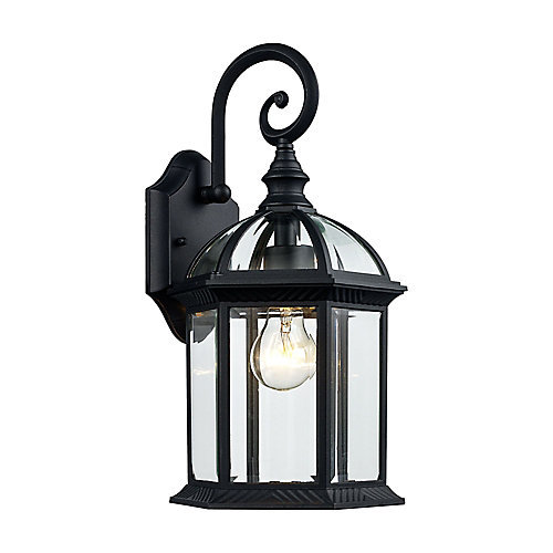 Lanterne cochère noire d'extérieur à 1 lumière