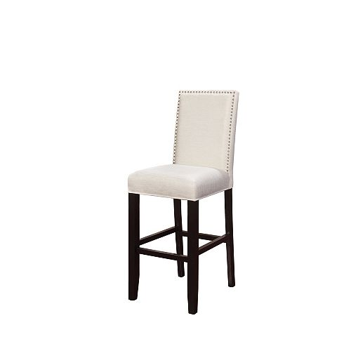 Stewart Solid Wood Black Modern Full Back Armless Bar Stool with White Polyester Seat