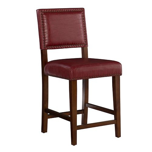 Linon Home Decor Solid Wood Brown Contemporary Full Back Armless Bar Stool with Red Faux Leather Seat