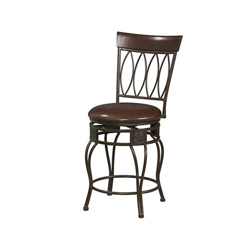Metal Bronze Traditional Full Back Armless Bar Stool with Espresso Faux Leather Seat