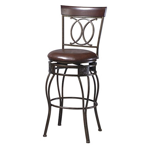 Linon Home Decor O & X Metal Bronze Traditional Full Back Armless Bar Stool with Espresso Faux Leather Seat