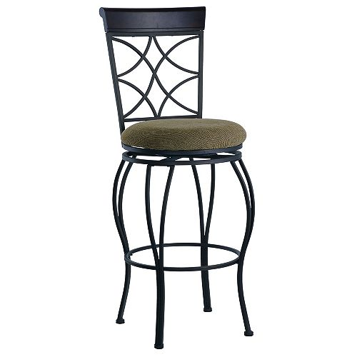 Linon Home Decor Metal Black Traditional Full Back Armless Bar Stool with Espresso Faux Leather Seat