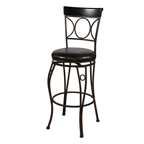 Linon Home Decor Circle Back Metal Black Traditional Full Back Armless Bar Stool with Espresso Faux Leather Seat