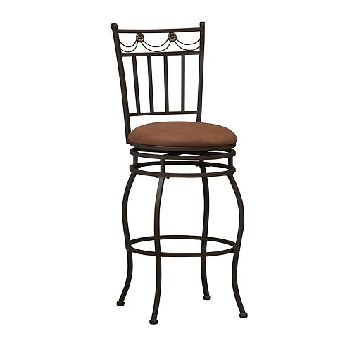 Linon Home Decor Swag Metal Black Traditional Full Back Armless Bar Stool with Brown Microfibre Seat
