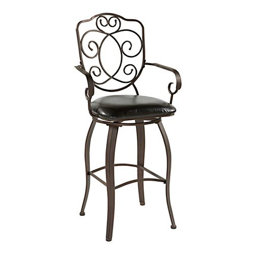 Linon Home Decor Crested Back Metal Black Traditional Full Back Bar Stool with Espresso Faux Leather Seat